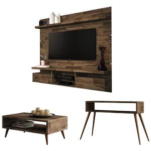 Painel TV Livin 1.8 com Mesa de Centro Lucy e Aparador Quad Deck - HB Móveis