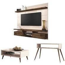 Painel TV Livin 1.8 com Mesa de Centro Lucy e Aparador Quad Off White/Deck - HB Móveis