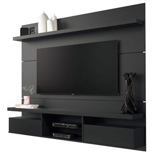 Painel TV Livin 1.8 com Mesa de Centro Lucy e Aparador Quad Preto - HB Móveis