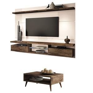 Painel TV Livin 2.2 com Mesa de Centro Lucy Deck/Off White - HB Móveis