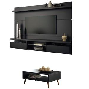 Painel TV Livin 2.2 com Mesa de Centro Lucy Preto - HB Móveis