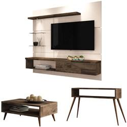 Painel TV Ores com Mesa de Centro Lucy e Aparador Quad Deck/Off White