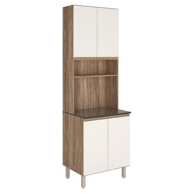 Paneleiro Duplo para Micro-Ondas 4 Portas Kali Premium 3097 Carvalho Rústico/Off White - Nicioli