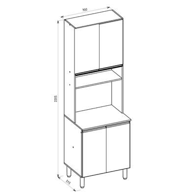 Paneleiro Duplo para Micro-Ondas 4 Portas Kali Premium 3111 Carvalho Rústico - Nicioli
