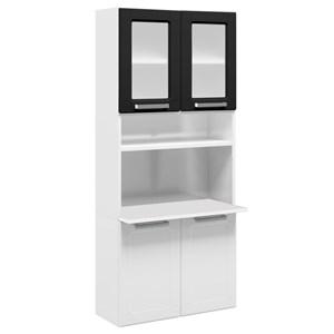 Paneleiro Duplo Suspenso Múltipla Aço Vidro 4 Portas Branco/Preto - Bertolini