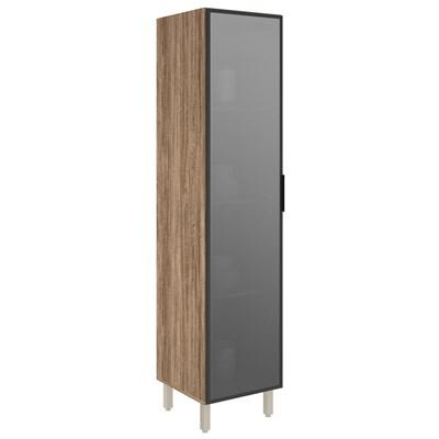 Paneleiro Simples 50cm 1 Porta Vidro Reflecta Kali Premium Carvalho Rústico/Cinza - Nicioli