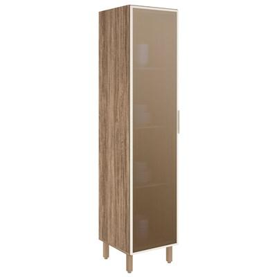 Paneleiro Simples 50cm 1 Porta Vidro Reflecta Kali Premium Carvalho Rústico/Off White - Nicioli