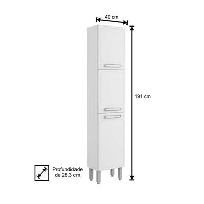 Paneleiro Simples Evidence Aço 3 Portas 7030 Branco - Bertolini