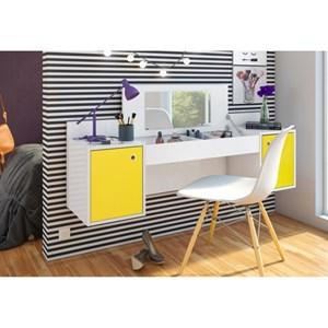 Penteadeira Camarim Atração Branco/Amarelo e Cadeira Charles Branca - Albatroz