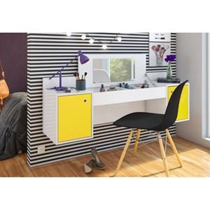Penteadeira Camarim Atração Branco/Amarelo e Cadeira Charles Preta - Albatroz
