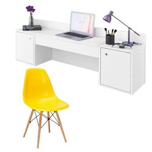 Penteadeira Camarim Atração Branco e Cadeira Charles Amarela - Albatroz