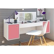 Penteadeira Camarim Atração Branco/Pink com Cadeira Charles Branco - Albatroz