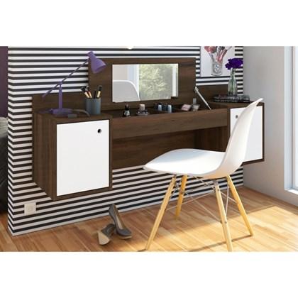 Penteadeira Camarim Atração Cedro/Branco e Cadeira Charles Branca - Albatroz