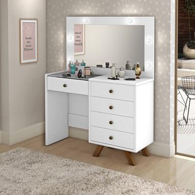 Penteadeira Camarim Com Espelho 5 Gavetas Luna Branco - Móveis Lupi