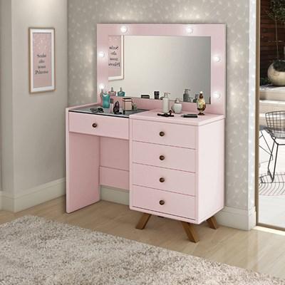 Penteadeira Camarim Com Espelho 5 Gavetas Luna Rosê - Móveis Lupi