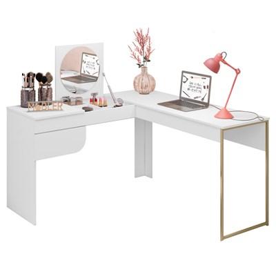 Penteadeira Camarim com Espelho e Escrivaninha de Canto Anita B03 Branco – Mpozenato