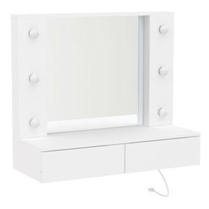 Penteadeira Camarim Suspensa com Espelho 2 Gavetas Arujá Branco - Politorno