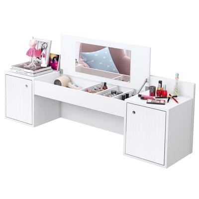 Penteadeira Camarim Suspenso Atração com Espelho e 02 Portas Branco Liso Fosco - Albatroz