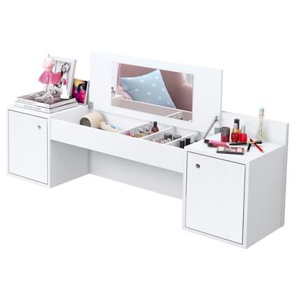 Penteadeira Camarim Suspenso Atração com Espelho e 02 Portas Branco Texturizado - Albatroz
