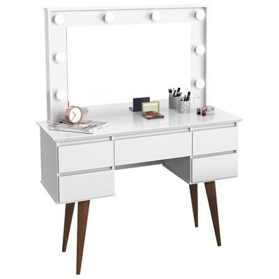 Penteadeira Com Espelho 5 Gavetas Pés Palito Camarim Strass Branco - Patrimar