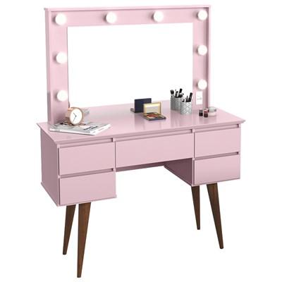 Penteadeira Com Espelho 5 Gavetas Pés Palito Camarim Strass Rosa - Patrimar