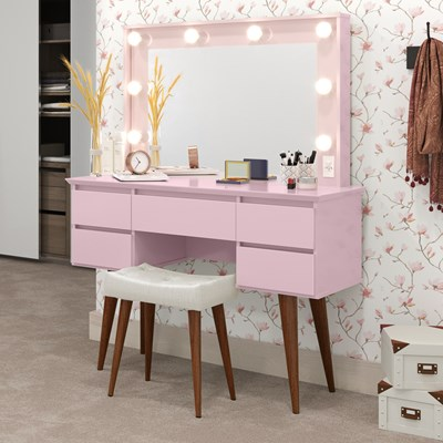 Penteadeira Com Espelho 5 Gavetas Pés Palito Camarim Strass Rosa - Patrimar Móveis