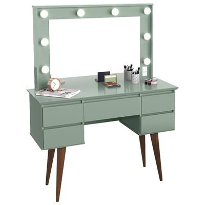Penteadeira Com Espelho 5 Gavetas Pés Palito Camarim Strass Verde Bellagio - Patrimar
