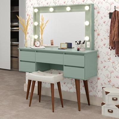 Penteadeira Com Espelho 5 Gavetas Pés Palito Camarim Strass Verde Bellagio - Patrimar Móveis