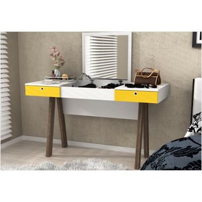 Penteadeira com Espelho e 02 Gavetas PE2002 Branco com Amarelo e Noce - Tecno Mobili