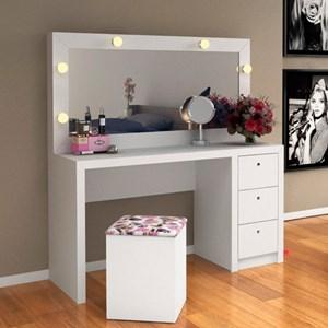 Penteadeira com Espelho e 03 Gavetas PE2001 Branco - Tecno Mobili