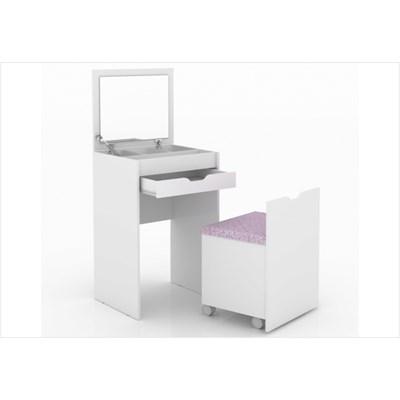 Penteadeira Compacta 1 Gaveta e Espelho PE2007 Branco/Tecido 408 - Tecno Mobili