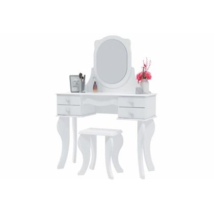 Penteadeira Princesa 04 Gavetas e Banqueta Branco - Patrimar