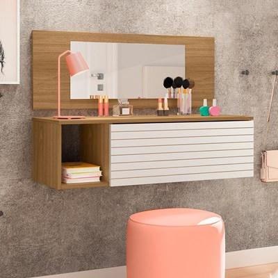 Penteadeira Suspensa com Painel e Espelho Joy P14 Nature/Branco - Mpozenato