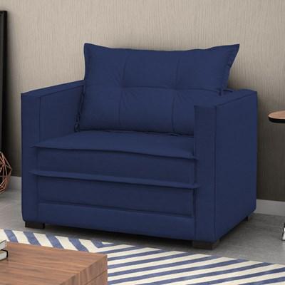 Poltrona Cama Londres Suede Azul Marinho - D'Monegatto