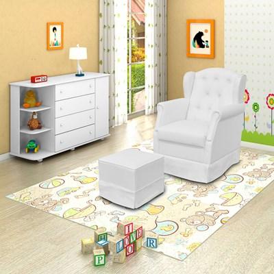 Poltrona de Amamentação Fixa com Puff Alice e Cômoda com Cantoneira Laura P04 Branco - Mpozenato