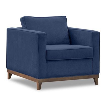 Poltrona Decorativa Aspen Suede Azul - D'Monegatto