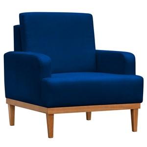 Poltrona Decorativa Base de Madeira Lady Suede Azul Marinho - Mpozenato
