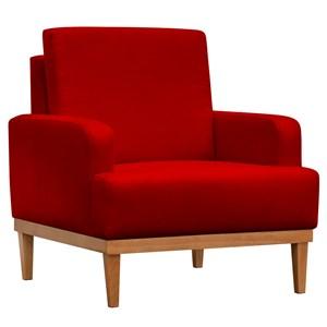 Poltrona Decorativa Base de Madeira Lady Suede Vermelho - Mpozenato
