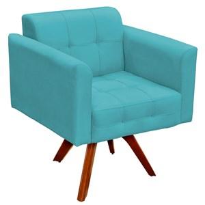 Poltrona Decorativa Base Madeira Giratória Ana Suede Azul Tiffany - Ibiza