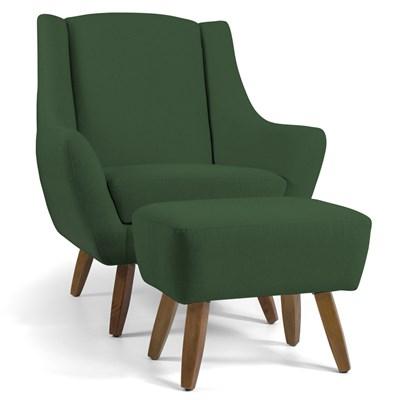 Poltrona Decorativa Com Puff Pés Manu Madeira Juliet B-232 Linho Verde - Domi