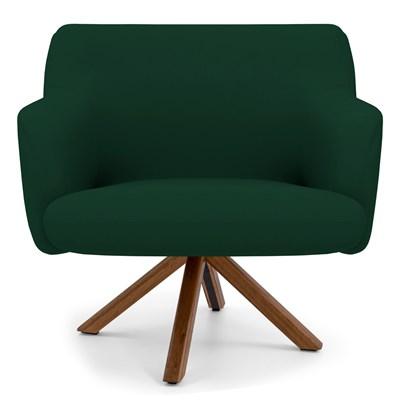 Poltrona Decorativa Giratória Base Giromad Madeira Jade B-303 Veludo Verde Musgo - Domi