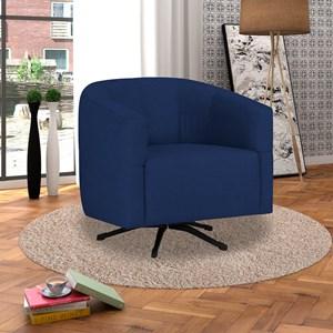 Poltrona Decorativa Giratória com Balanço Bianca Suede Azul Marinho - D'Monegatto
