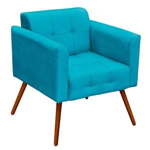 Poltrona Decorativa Pés Palito Ana Suede Azul Tiffany - Ibiza