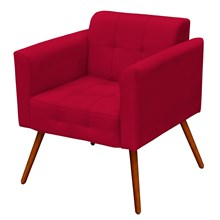 Poltrona Decorativa Pés Palito Ana Suede Vermelho - Condor Decor