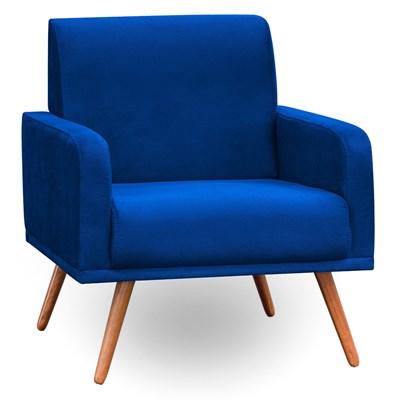 Poltrona Decorativa Pés Palito Carla Suede D05 Azul Marinho - Mpozenato