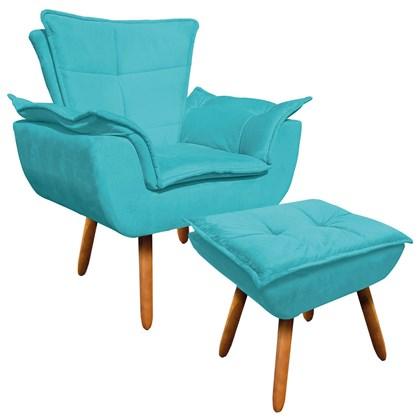 Poltrona Decorativa Pés Palito com Puff Opla Suede Azul Tiffany- Ibiza
