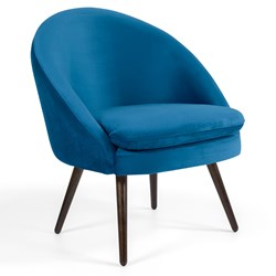 Poltrona Decorativa Pés Palito Madeira Rafa B-170 Veludo Azul - Domi
