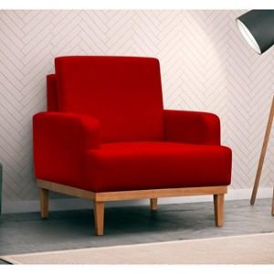 Poltrona Decorativa Pés Retrô Lady Suede D05 Vermelho - Mpozenato