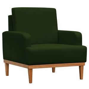 Poltrona Decorativa Pés Retrô Lady Suede Verde Musgo - Mpozenato