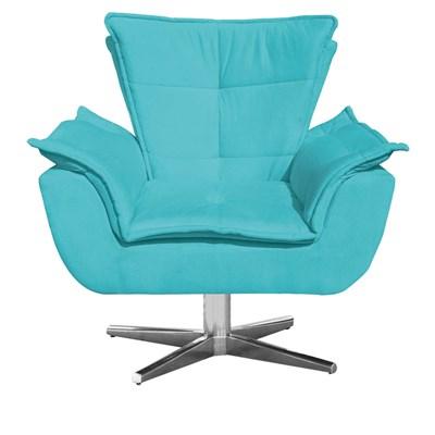 Poltrona Decorativa Sala de Estar Base Giratória Cromada Opla Suede Azul Tiffany- Ibiza